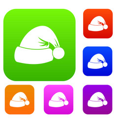 santa hat set collection vector image