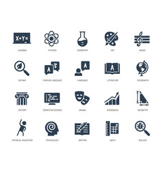 School subjects icon set in glyph style vector