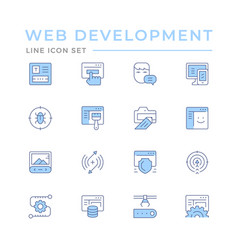 set color line icons web development vector image
