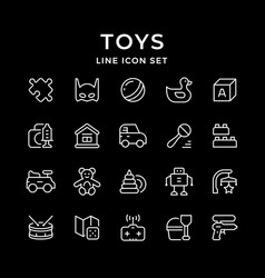 set line icons toys vector image