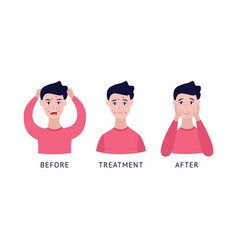 Set man with acne before and after treatment vector