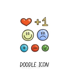 Set of doodle social icons Love plus smiling vector
