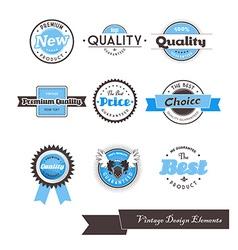 Set of nine blue vintage labels vector image