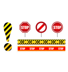 set sign stop circle road sign exclamation mark vector image