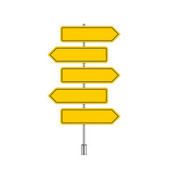 set yellow signpost vector image