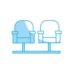 Silhouette cinema chair to watch movie scene vector