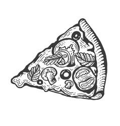 slice pizza sketch engraving vector image