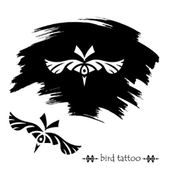 Stylized decorative bird mask Tattoo silhouette vector image