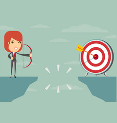 successful businesswoman aiming target vector image