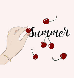 Summer party cherry greeting card food sketch vector