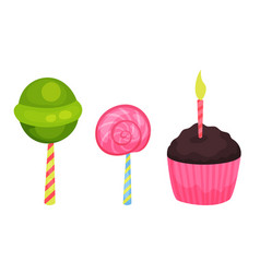 Sweet lollipops and cupcake with candle as holiday vector