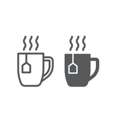 Tea cup line and glyph icon drink and beverage vector