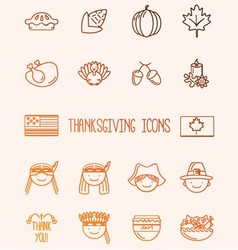 Thanksgiving ico set 16 vector