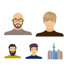 the face of a bald man with glasses and a beard a vector image