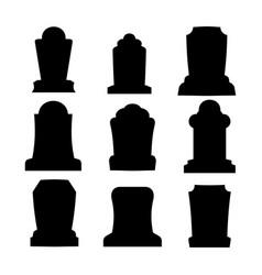 tombstone silhouette set for halloween gravestone vector image