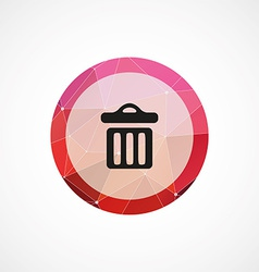 trash bin circle pink triangle background icon vector image