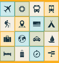 Traveling icons set collection of sunny railway vector