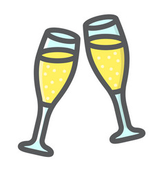 two glasses of champagne filled outline icon vector image
