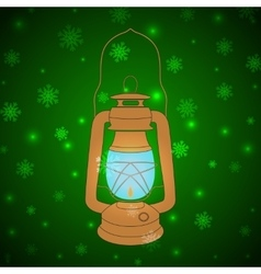 Vintage kerosene lamp on a green background vector