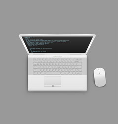 White laptop from above vector