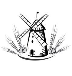 wind mill emblem vector image