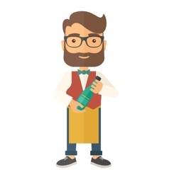 Wine maker holding a bottle of wine vector