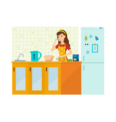 Woman housewife is engaged in preparing a meal vector