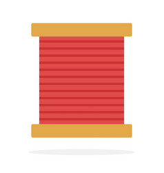 wooden coil with red thread flat isolated vector image