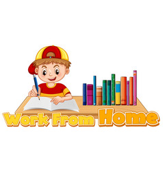Work from home theme with boy doing homework vector