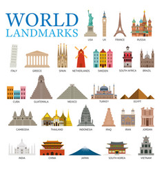 World countries landmarks set vector