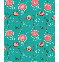 abstract floral pattern with birds vector image