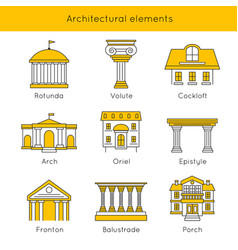 architectural elements icon set vector image