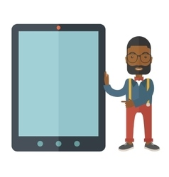 Black businessman holding a big screen tablet vector image vector image