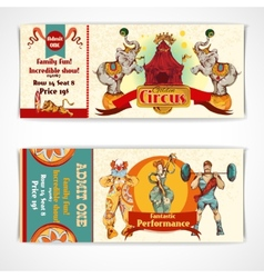 Circus vintage tickets set vector image