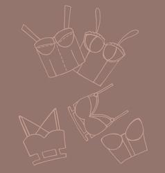 Set of women bra doodle underwear vector image vector image