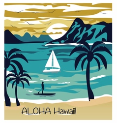Summer beach with Palm trees Hawaii Card vector image vector image