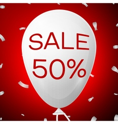 White baloon with text sale 50 percent discounts vector
