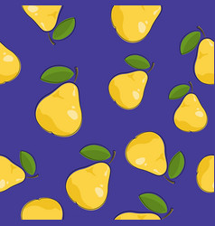 Seamless pattern pear on purple background vector