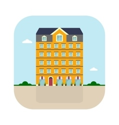 yellow high house vector image vector image