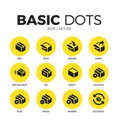 box flat icons set vector image