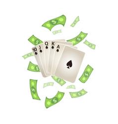 flat royal flush in spades rain of dollar vector image