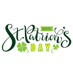 happy st patricks day text for greeting card vector image vector image