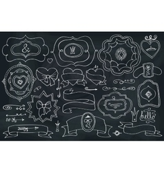 Doodle labelsbadgesdecor element on chalkboard vector image vector image