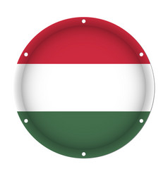 Round metallic flag of hungary with screw holes vector