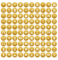 100 family icons set gold vector
