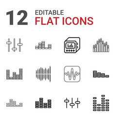 12 equalizer icons vector