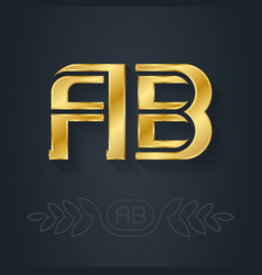 A and b initial golden logo ab - metallic 3d icon vector