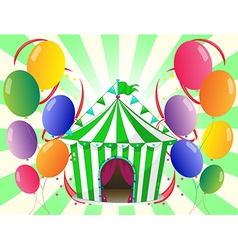 A green circus tent at the center of the colorful vector