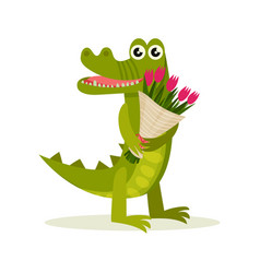 adorable crocodile with bouquet of pink tulips vector image