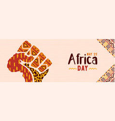 Africa day hand fist african map concept banner vector